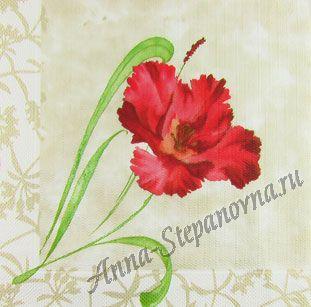 Салфетка для декупажа «Алый цветок»