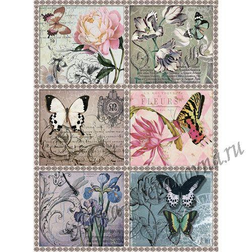 Рисовая бумага «Цветы и бабочки»
