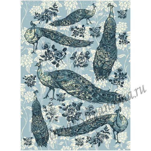 Рисовая бумага «Павлины в голубом цвете»