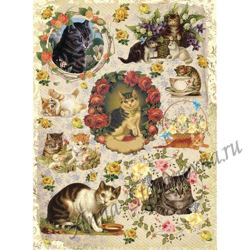Рисовая бумага «Коты в розах»