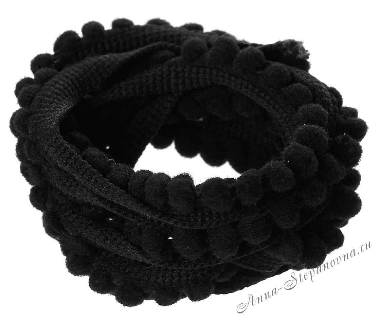 Тесьма с помпонами черная