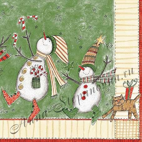 Салфетка «Снеговики» №577