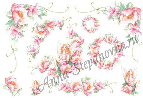 Бумага рисовая для декупажа Фея розовых  цветов