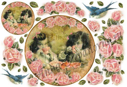 Бумага рисовая для декупажа Чай и цветы