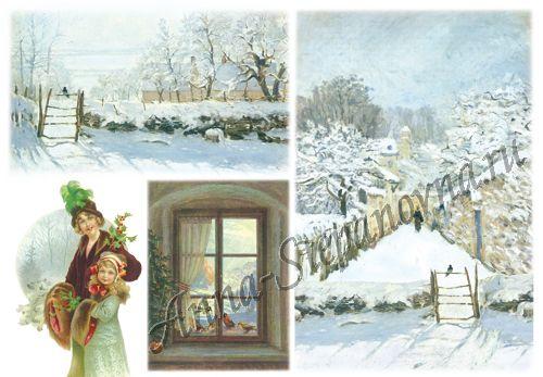Бумага рисовая для декупажа «Романтическая зима»