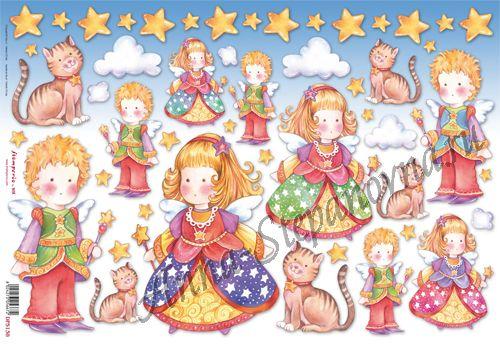 Бумага рисовая для декупажа Дети, ангелы и коты