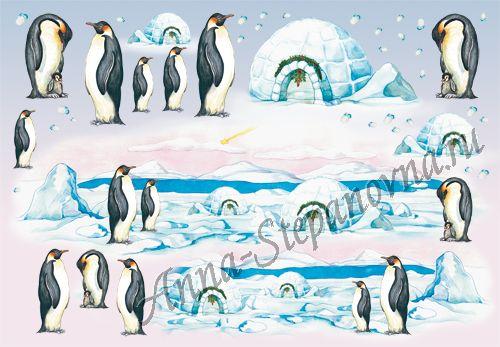 Бумага рисовая для декупажа Пингвины