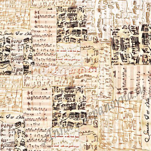 Салфетка рисовая для декупажа «Старинные ноты»