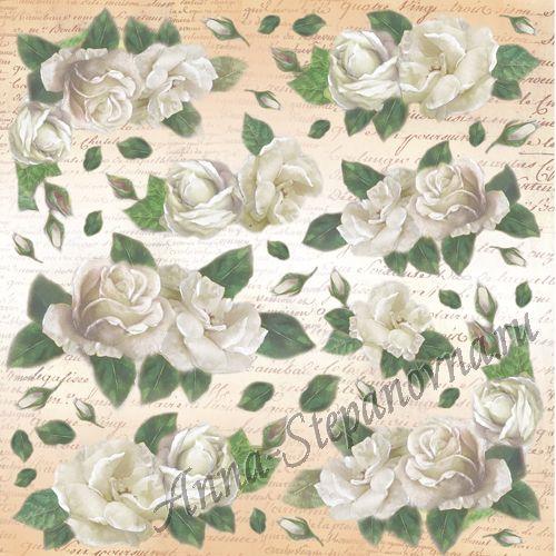 Салфетка рисовая для декупажа «Розы и письма»