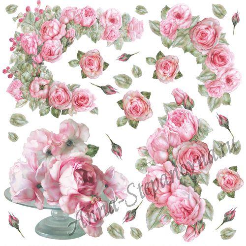 Салфетка рисовая для декупажа «Розы в вазе»