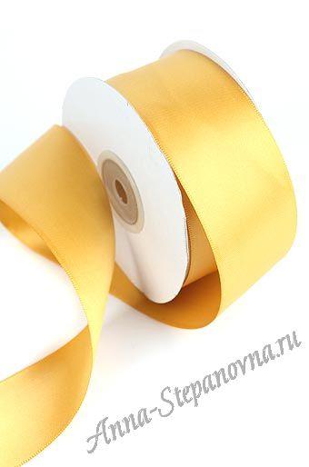 Лента атласная «Шелк антик желтый»
