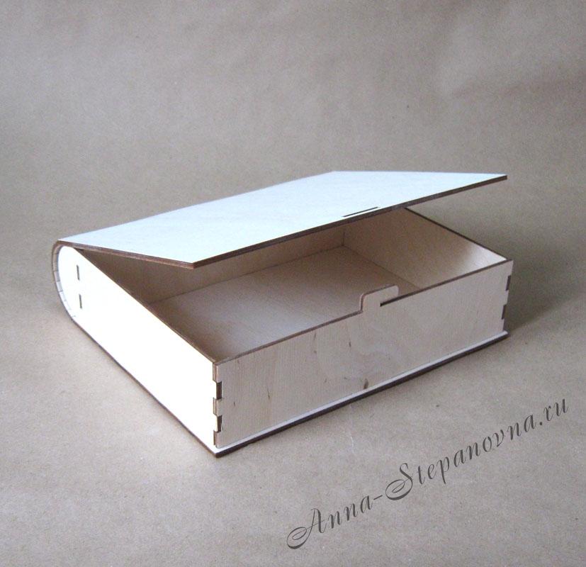 Деревянная шкатулка в виде книги