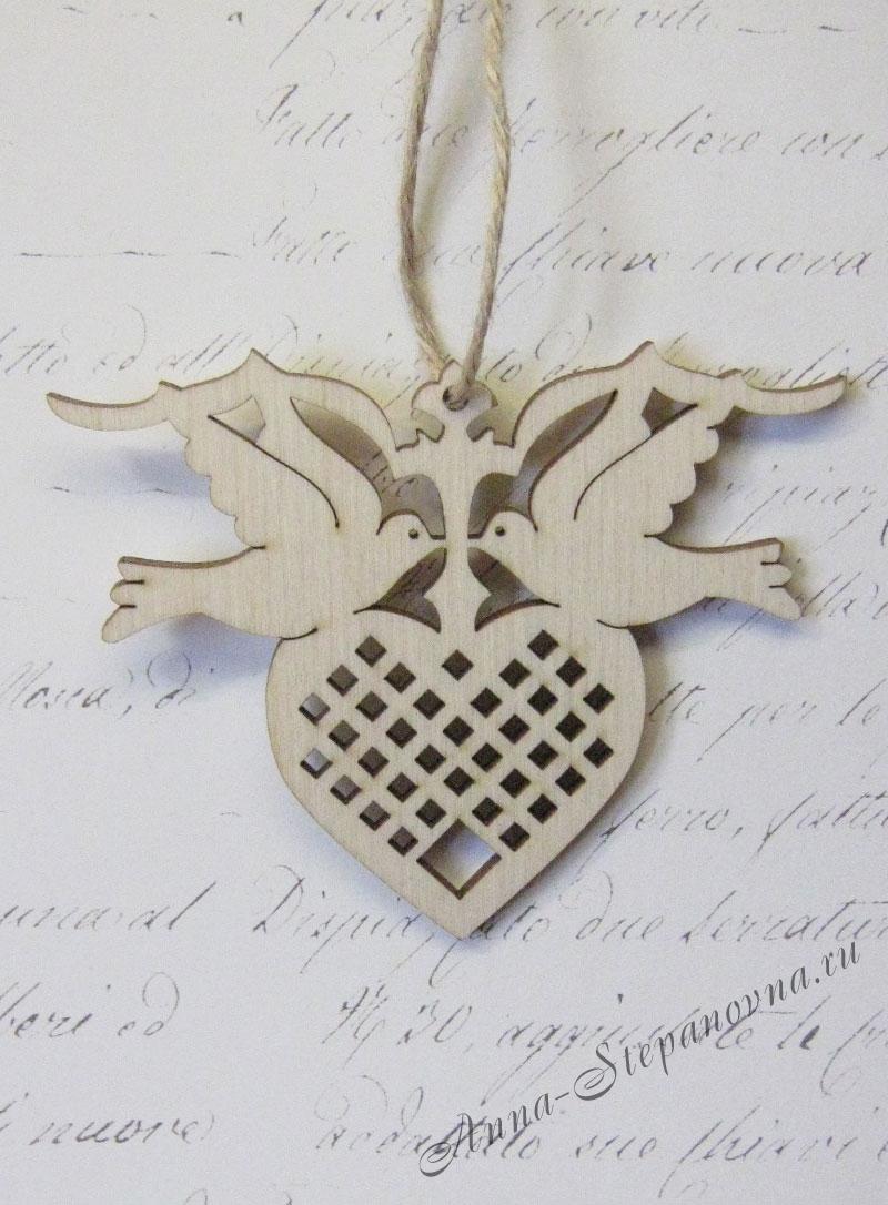 Подвеска «Сердце и голуби»