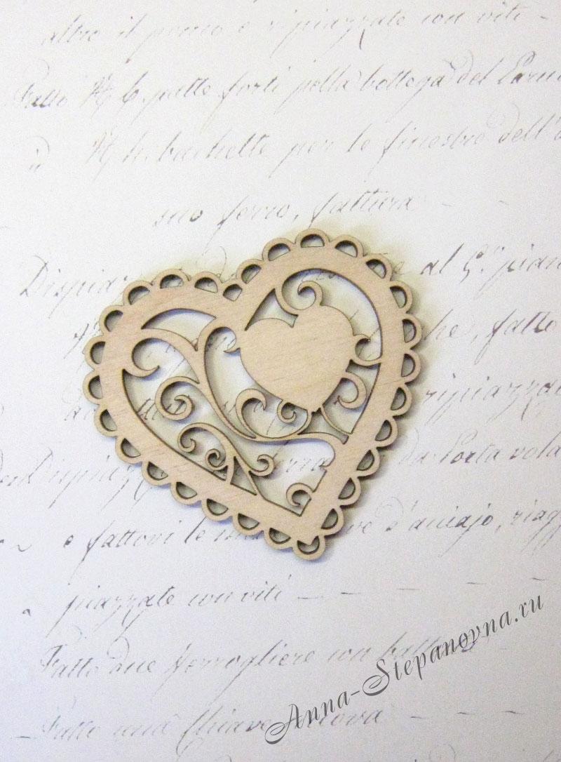 Бирка «Сердце с завитками»