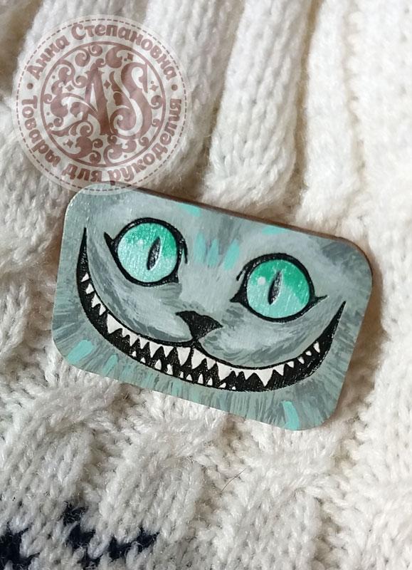 Значок «Чеширский кот» деревянный