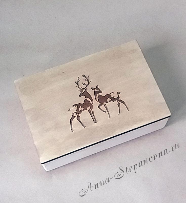 Шкатулка «Олени» с гравировкой