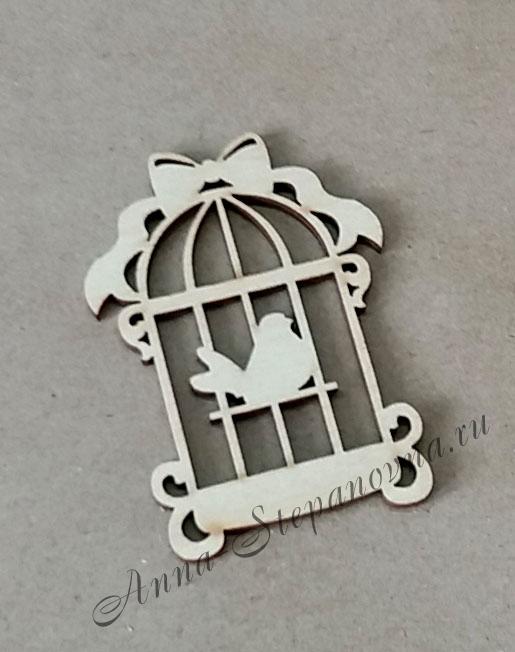 «Клетка с птичкой» чипборд деревянный