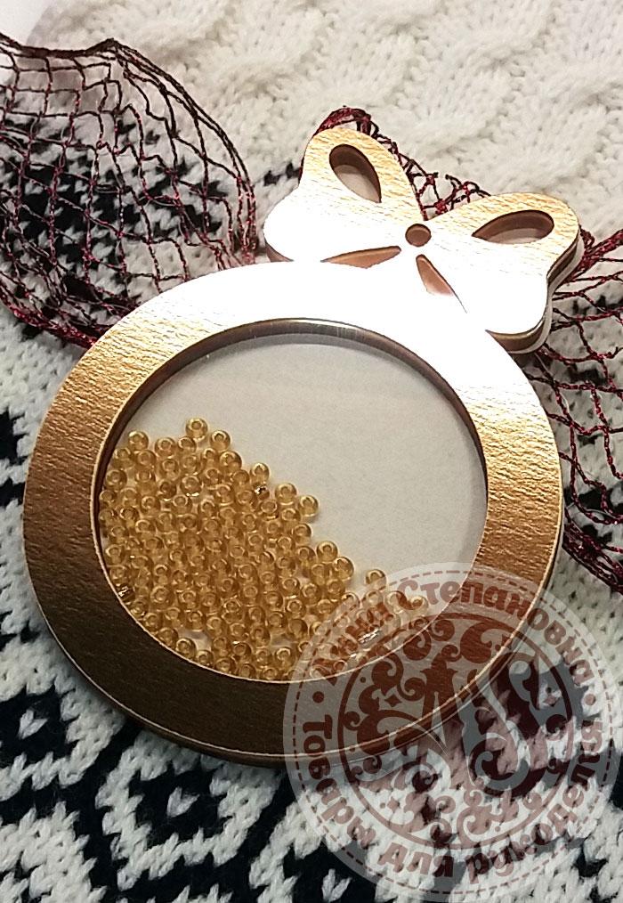 Чипборд шейкер «Шар с бантиком» золотой