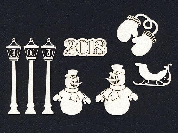 Чипборд «Снеговик во дворе»