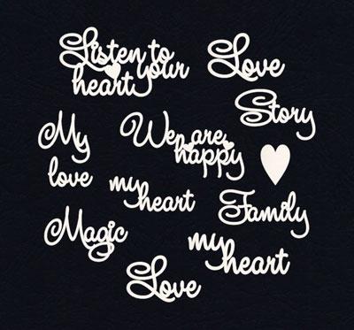 Чипборд «Надписи о любви. Английский»