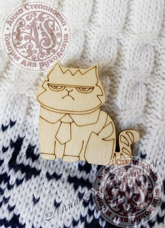 Заготовка «Деловой кот» значок
