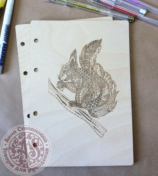 Деревянная обложка «Белочка с орехом» для блокнота