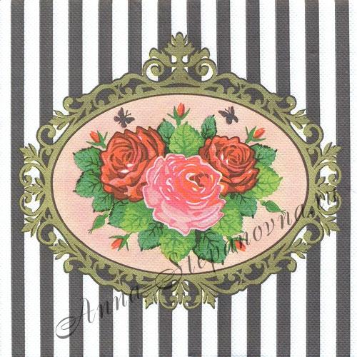 Салфетка для декупажа «Розы в рамке»