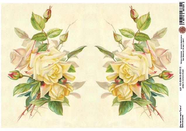 Декупажная карта Кремовые розы