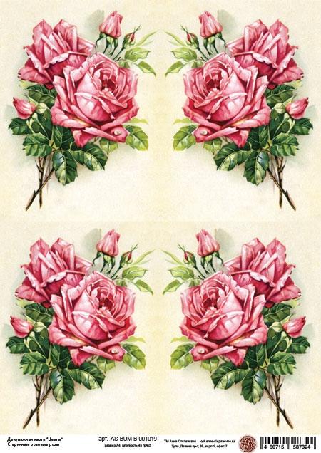 Декупажная карта Старинные розовые розы