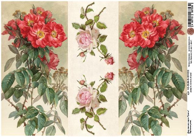 Декупажная карта Парковые розы