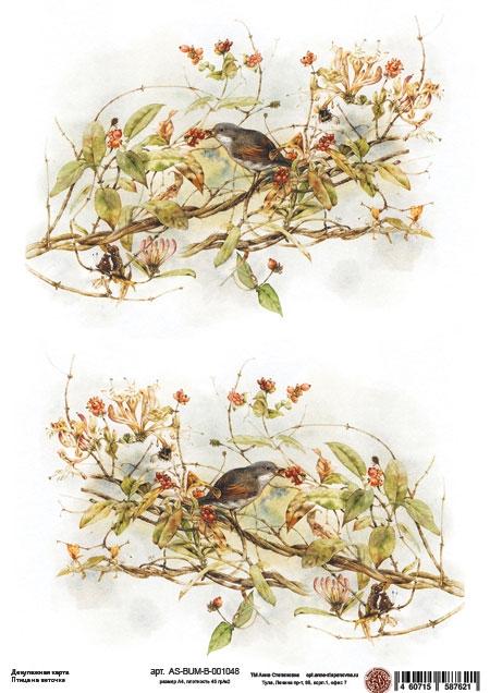 Декупажная карта Птица на веточке