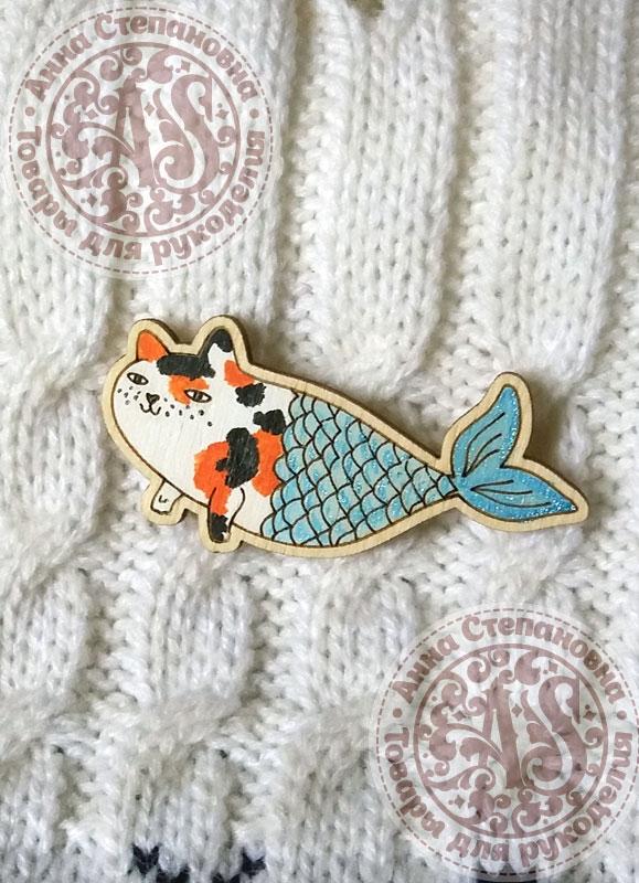 Значок «Кот-русалка».