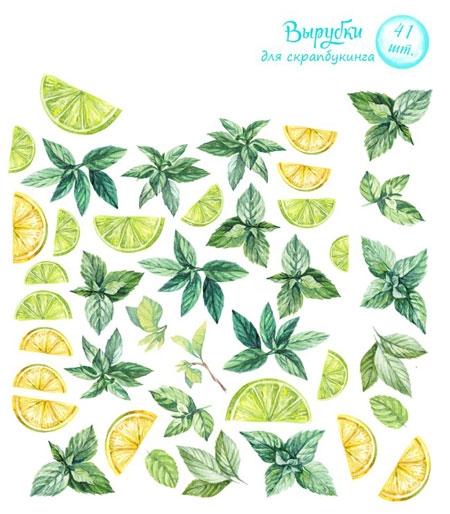 Вырубки для скрапбукинга «Лимон и мята»