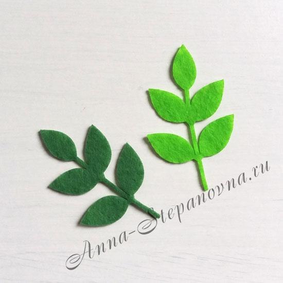 Листья из фетра зеленые