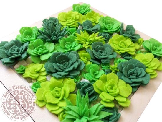 Набор для создания коврика. Суккуленты ярко-зеленые