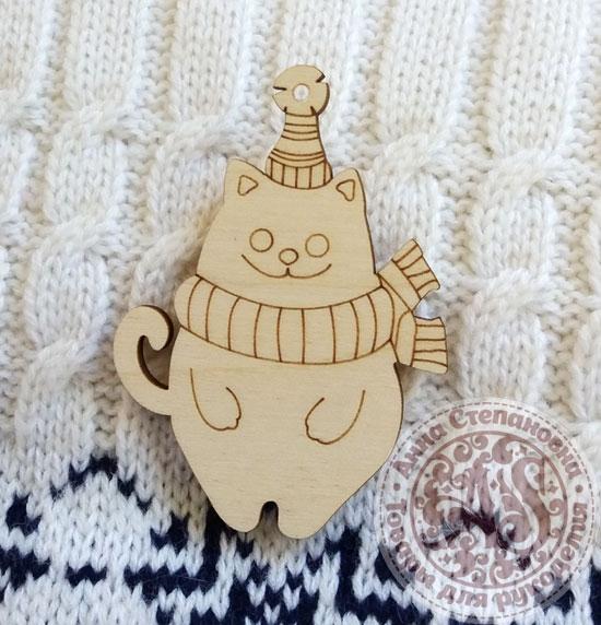 Деревянная ёлочная игрушка Кот