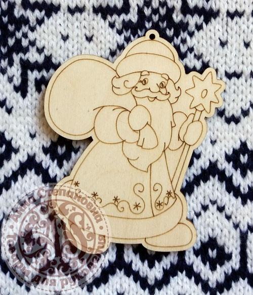 Ёлочная игрушка из дерева Дед Мороз