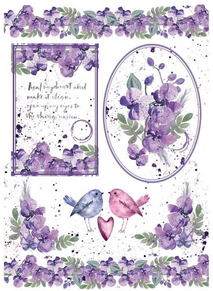 Бумага рисовая Акварельные орхидеи и птички