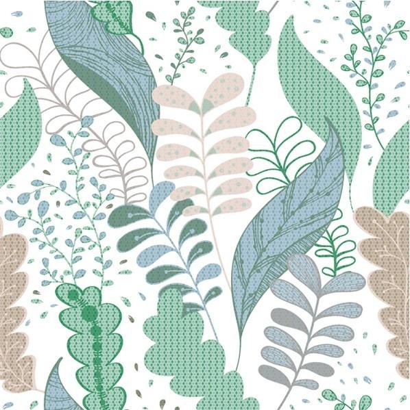Салфетка Голубые и зеленые листья №824