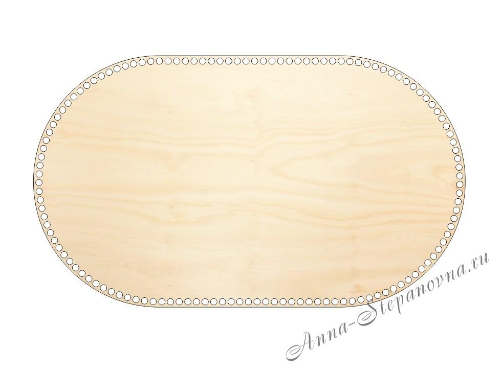 Деревянное донышко «Овал с прямыми боками» для корзины