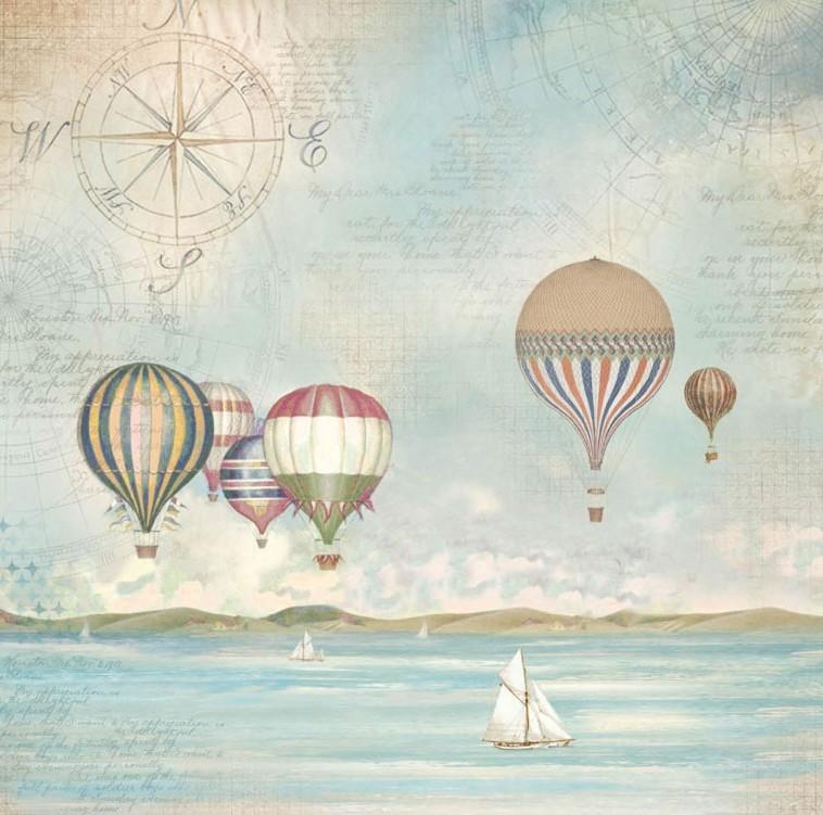 Салфетка рисовая для декупажа Страна морей, воздушные шары