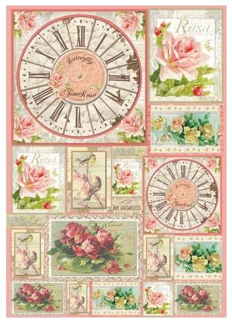 Большая карта для декупажа «Открытки с розами и часы»