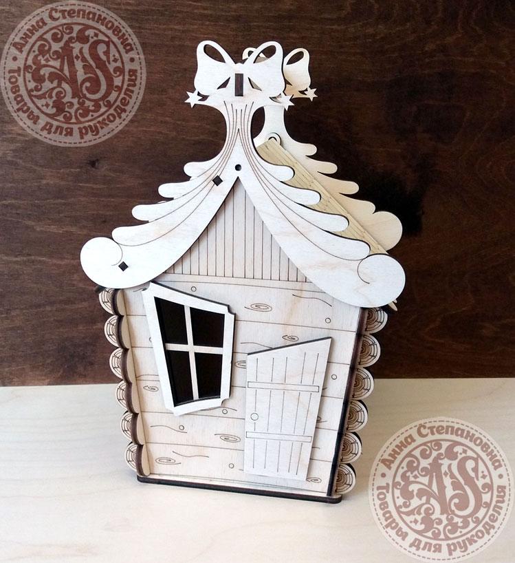 Коробка новогодняя Домик для конфет