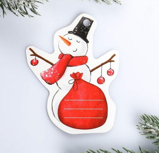 Шильдик на подарок Снеговик