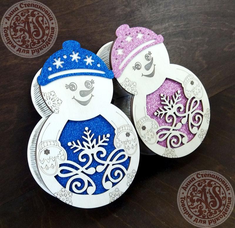 Коробка для конфет Снеговичок