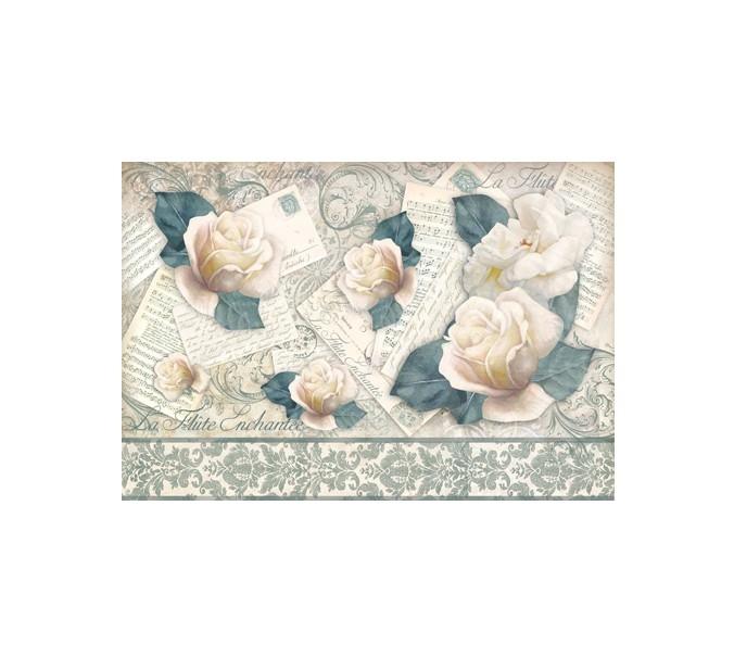 Бумага рисовая для декупажа Письма, ноты, розы