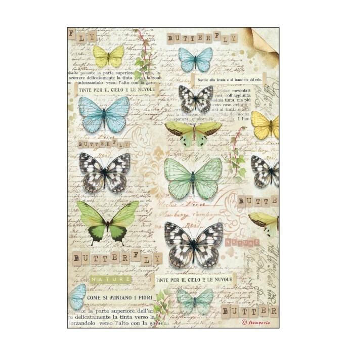 Бумага рисовая Бабочки, ботаника