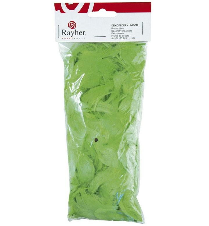 Перья декоративные, ярко-салатовые