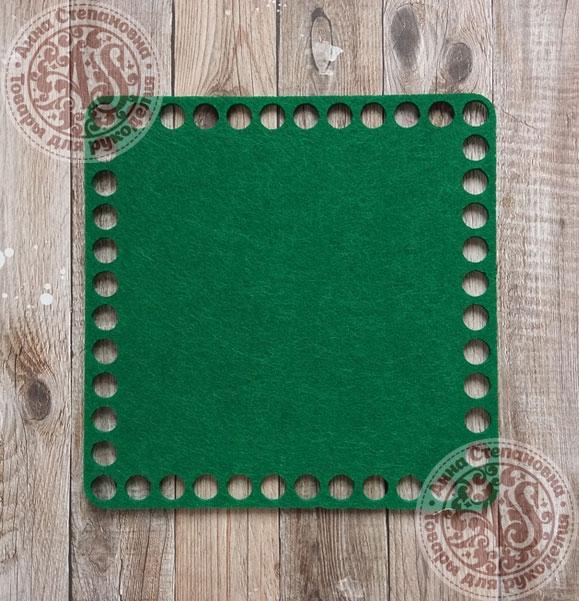 Фетровое донышко для корзинок «Квадрат» зеленый