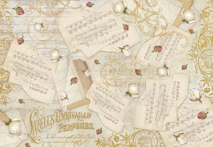 Бумага рисовая для декупажа Музыка и цветы
